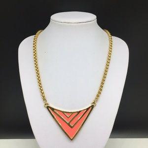 Vince Camuto Coral Pink Enamel Pendant Necklace